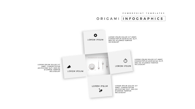 4 Icon options of Abstract Origami Infographics for PowerPoint Templates with Placeholder  in wihte Background