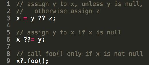 Null-aware operators in Dart