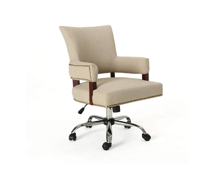 May Traditional Home Office Chair, Wheat and Chrome