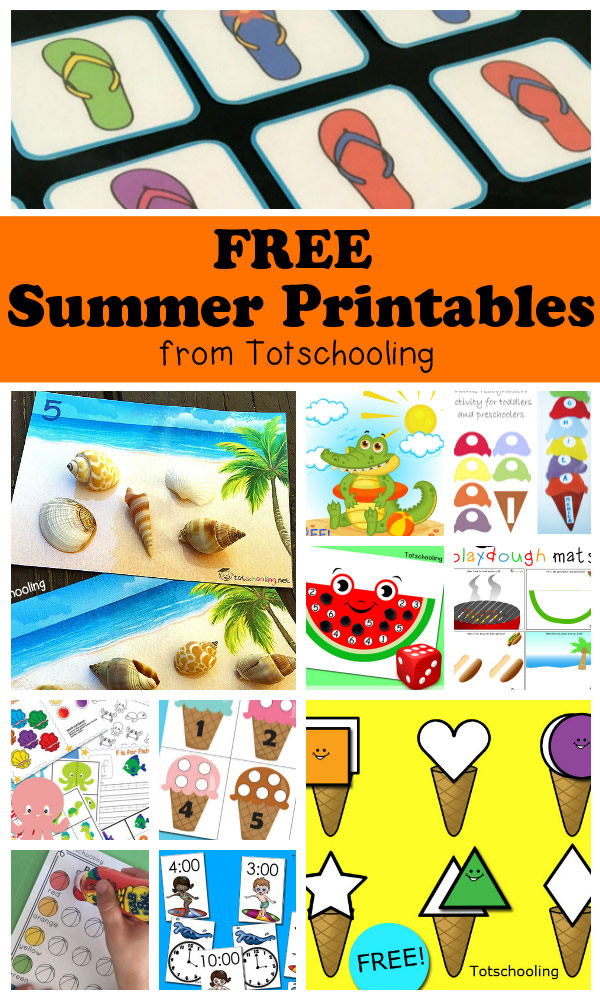 FREE Summer printables for toddlers, preschool and kindergarten featuring ice cream, beach, sea shells, watermelon, flip flops, bbq, ocean animals, etc. Large collection of activities including counting, numbers, alphabet, name recognition, telling time, cvc words, fine motor, colors, matching, puzzles and more!