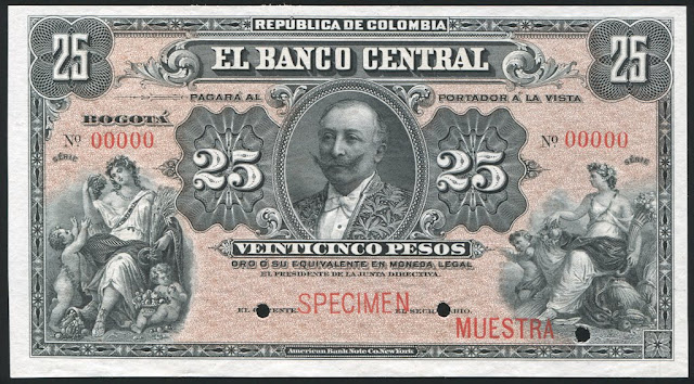 Colombian Currency money 25 Pesos banknote Rafael Reyes