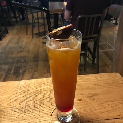 Picture of my mocktail, the Virgin Aussie Sunset