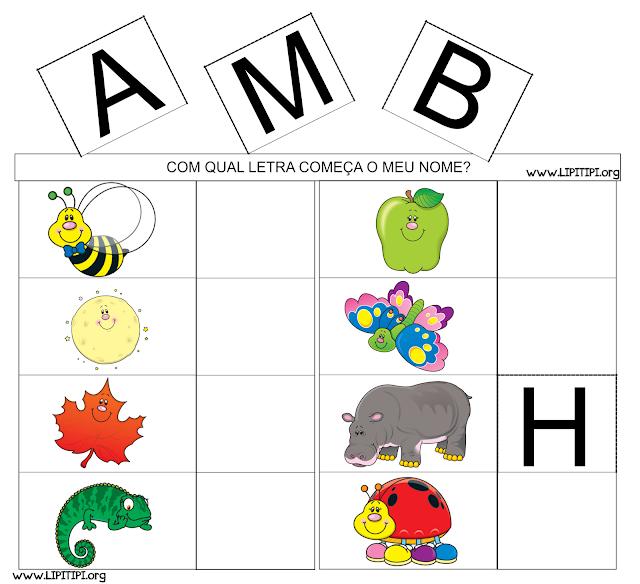 Jogo Letra Inicial com tabelas para impressão.