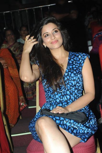 Actress Madhurima in blue short dress