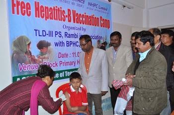 Free Hepatitis B vaccination camp by nhpc