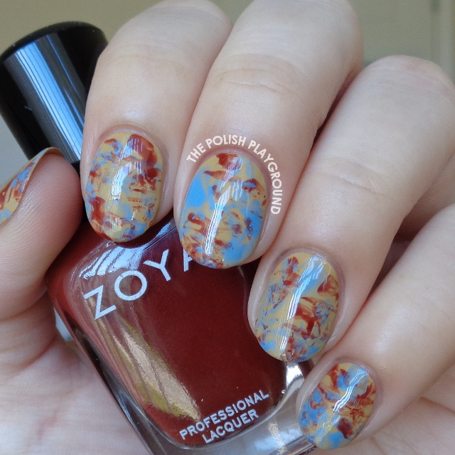 Blue and Red Brown Saran Wrap Nail Art