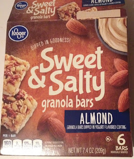 A box of Kroger Sweet and Salty Almond Granola Bars