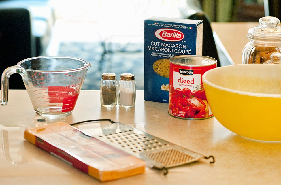 Slab of cheese, box of barilla pasta, can of tomatoes and preparation utensils.