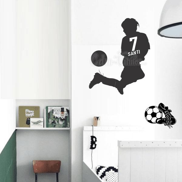 vinilo decorativo futbol silueta nene niño jugador pelota botines infantil juvenil