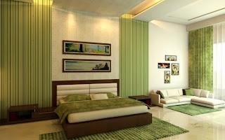 cuarto en marrón y verde