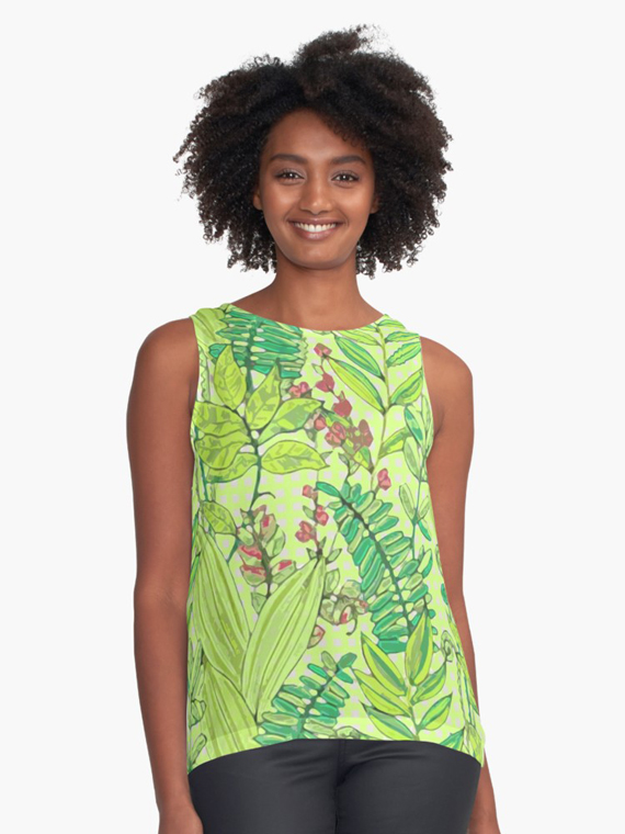leaves and palms pattern in greenery pantone color, summer top