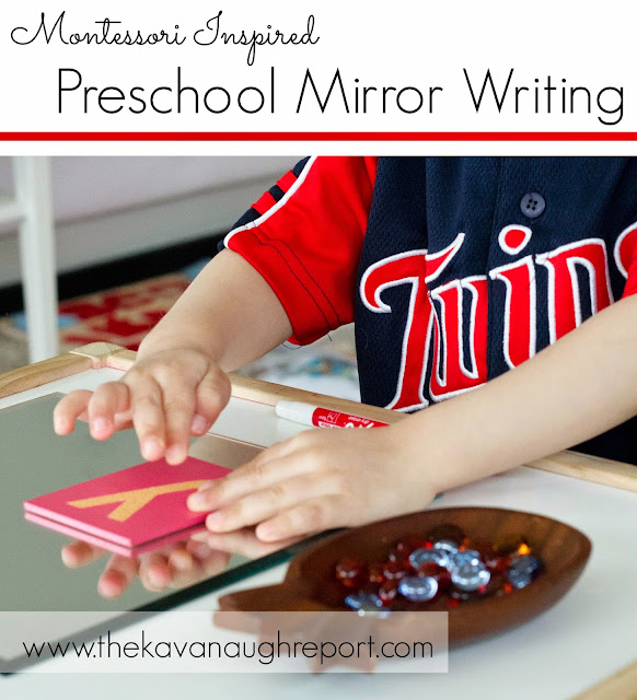A Montessori inspired way to encourage writing and fine motor skills with preschoolers. This is a fun way to engage reluctant writers to practice their skills.
