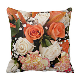 Orange roses throw pillow