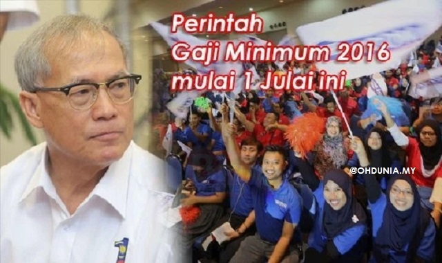 Perintah Gaji Minimum 2016 Berkuat Kuasa Mulai 1 Julai