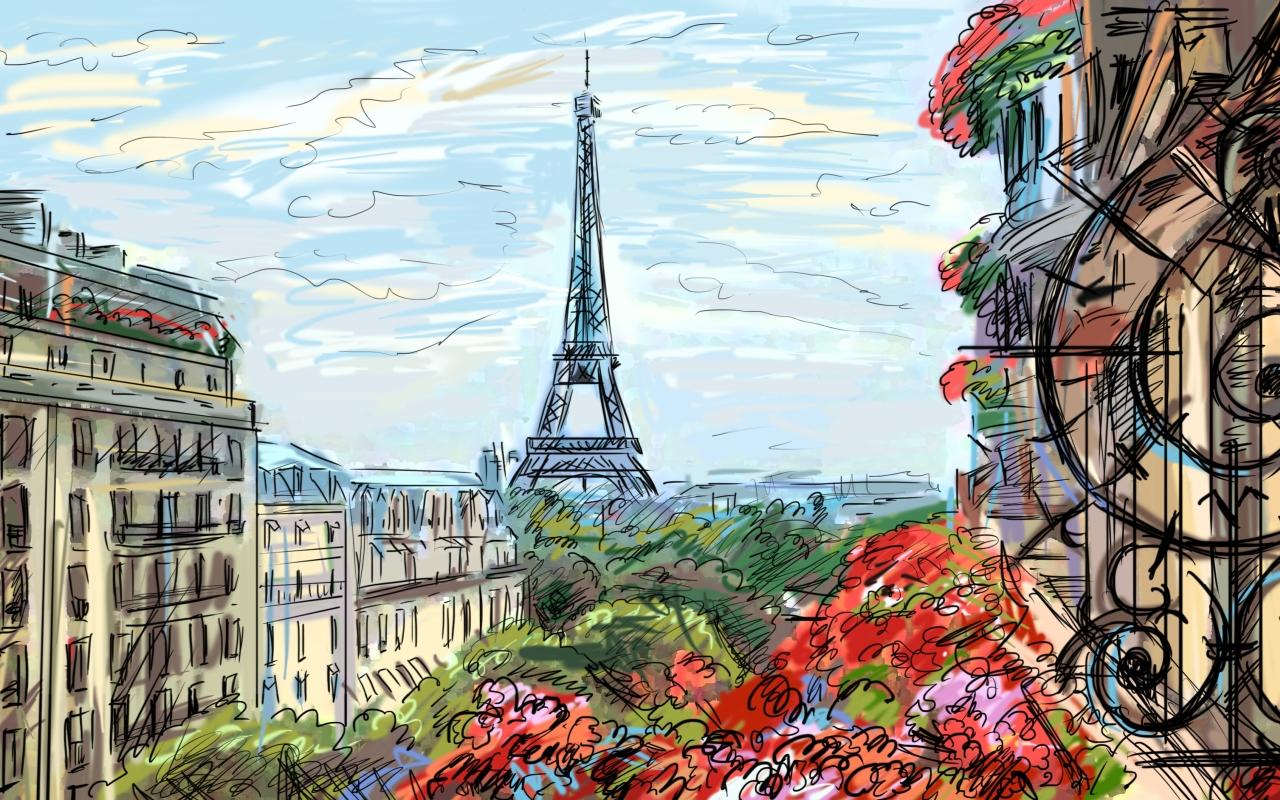 New York City Watercolor By Rollingboxes On DeviantArt Eiffel Tower Wallpaper