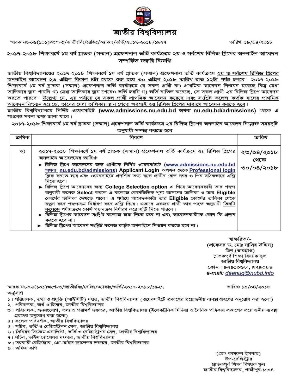 Honours (Professional) 2nd Release Slip Admission Notice - nu edu bd admission