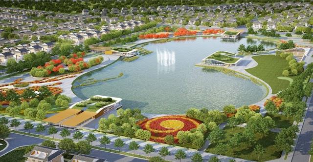 Công viên hồ điều hòa rộng lớn với cây xanh và hoa