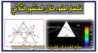 قوانين المنشور الثلاثي ، تعريف المنشور الثلاثي ، شكل المنشور الثلاثي ، بحث عن المنشور الثلاثي ، الانكسار بواسطة المنشور الثلاثي Refraction By A prism