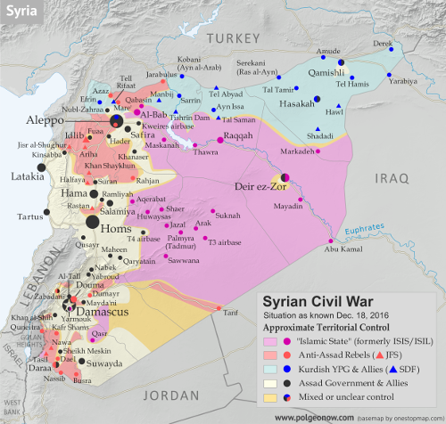 Map of fighting and territorial control in Syria's Civil War (Free Syrian Army rebels, Kurdish YPG, Syrian Democratic Forces (SDF), Jabhat Fateh al-Sham (Al-Nusra Front), Islamic State (ISIS/ISIL), and others), updated to December 18, 2016. Now includes terrain and major roads (highways). Includes recent locations of conflict and territorial control changes, such as Aleppo, Palmyra, Khan al-Shih, Mayda'ani, and more. Colorblind accessible.
