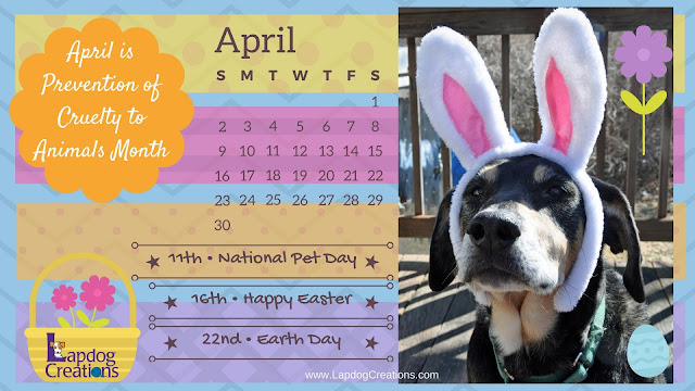 printable desktop April 2017 calendar rescue dogs