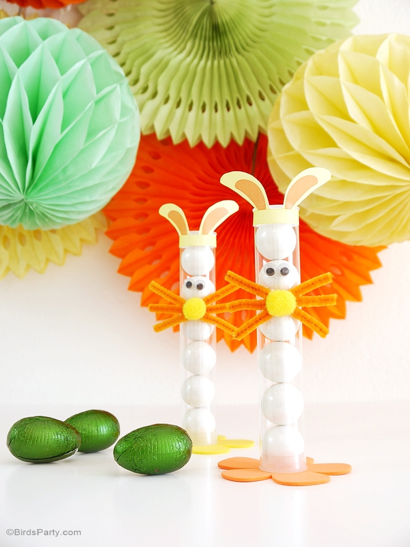 DIY Easter Bunny Treat Gumball Tubes for Kids - BirdsParty.com