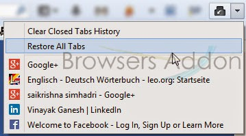 Undo Closed Tabs Button