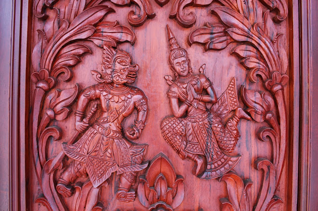 Carved wood door, Arunreas Phnom Penh, Cambodia - travel blog