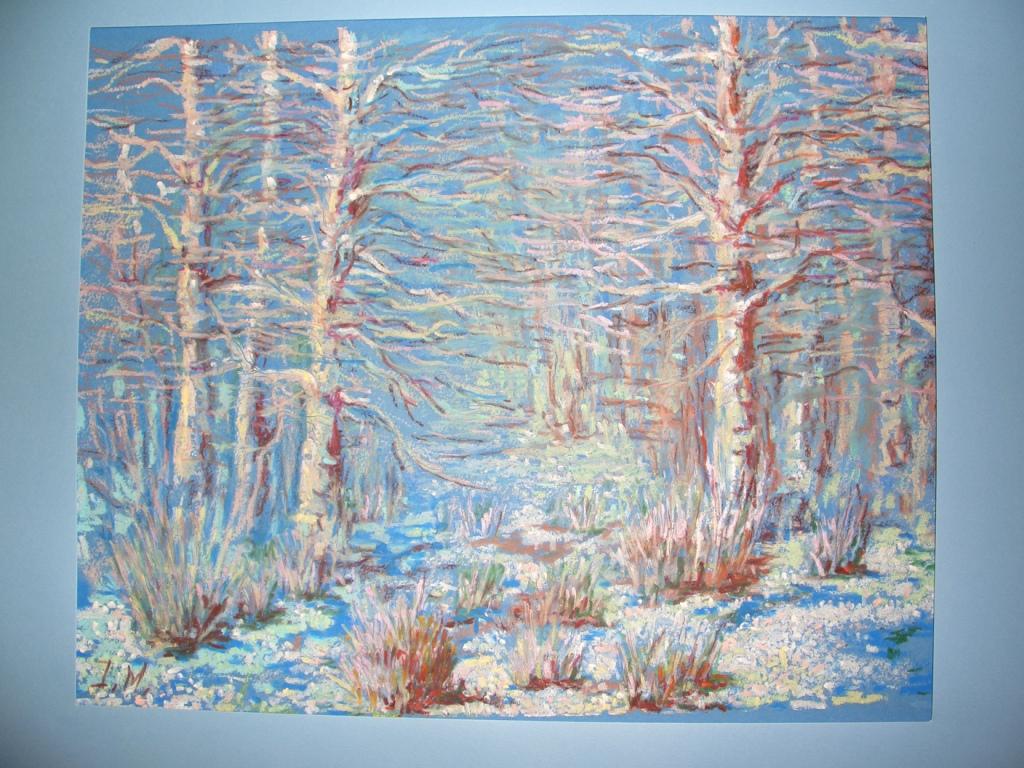 Spring time oil pastel on light blue paper 15x12 sold