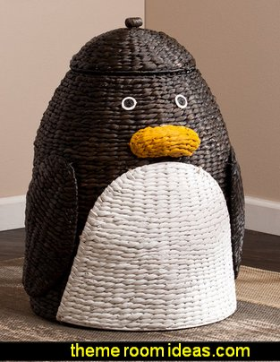 Upton Home Penguin Laundry Hamper   penguin bedrooms - polar bear bedrooms - arctic theme bedrooms - winter wonderland theme bedrooms - snow theme decorating ideas - penguin duvet covers - penguin bedding - winter wonderland party ideas - Christmas