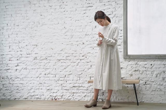 溫室花園 米線斜排釦洋裝