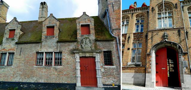Fachadas medievais em Bruges, Bélgica