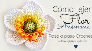Hermosa flor al crochet Anémona/Paso a paso