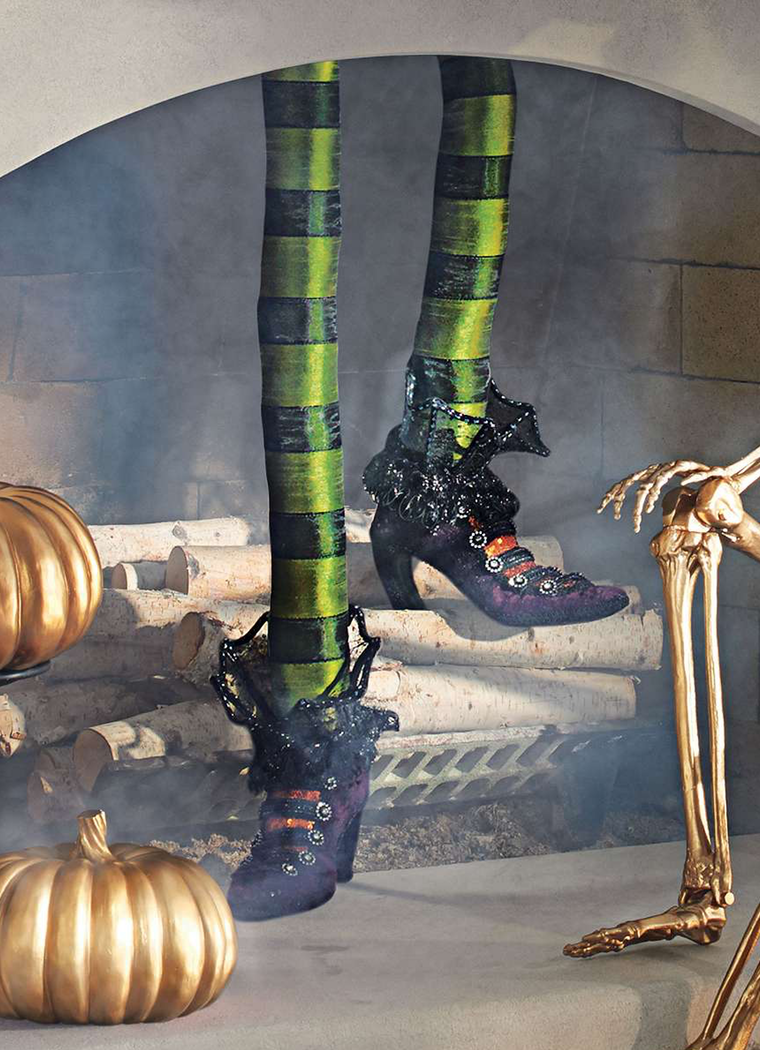 Grandin Road Pair of Decorative Witch Legs shown in Green