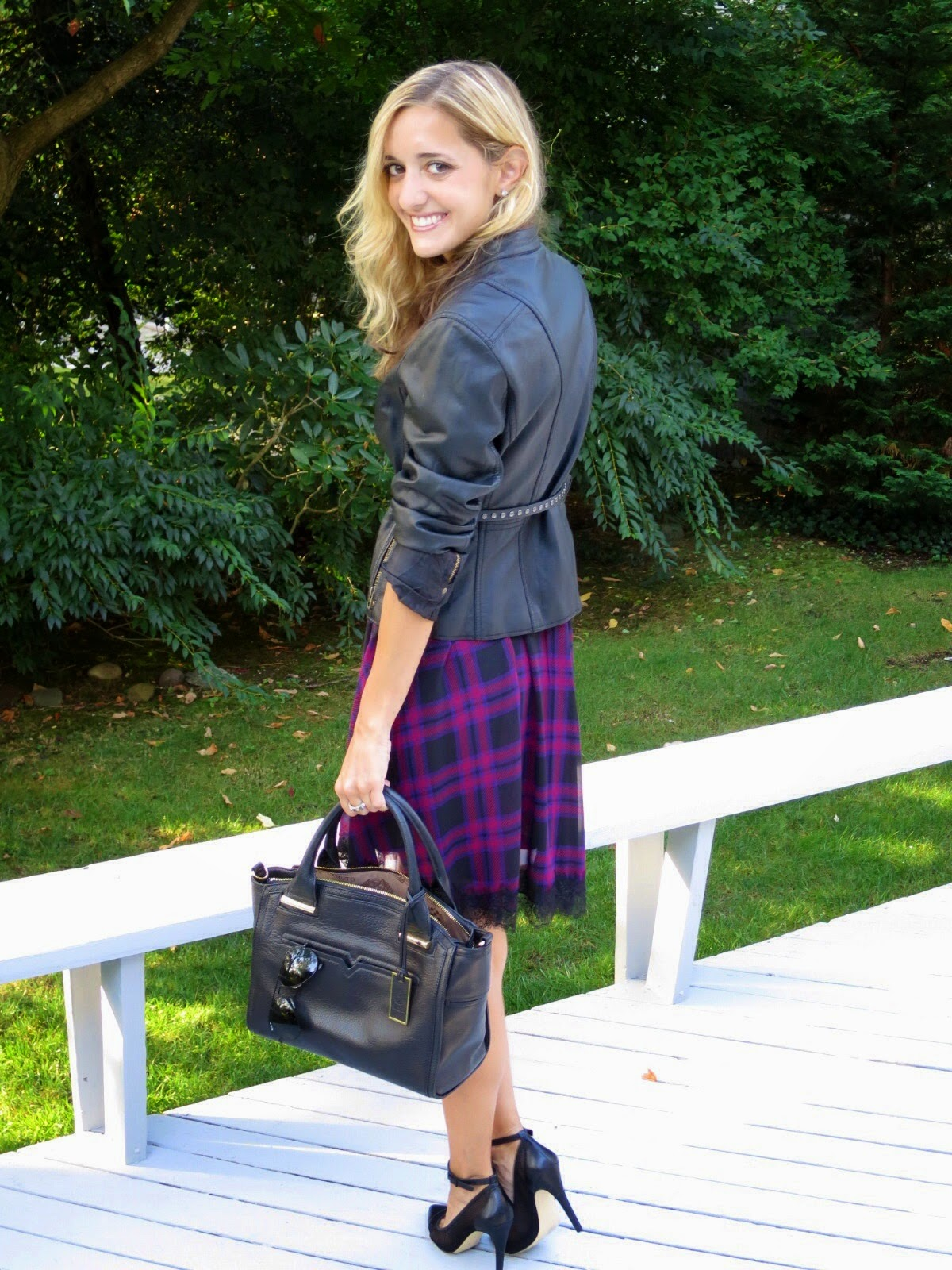 plaid & leather outfit
