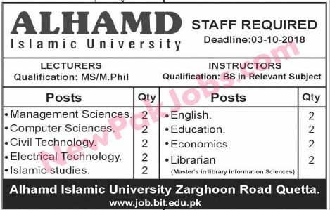 Staff required in ALHAMD ISLAMIC University Quetta