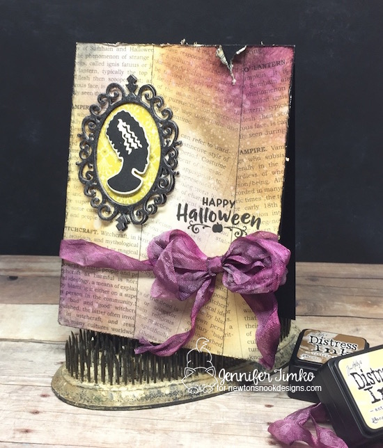 Halloween card by Jennifer Timko | Creepy Cameos Halloween Stamp Set and Cameo Frame Die Set by Newton's Nook Designs #newtonsnook #handmade