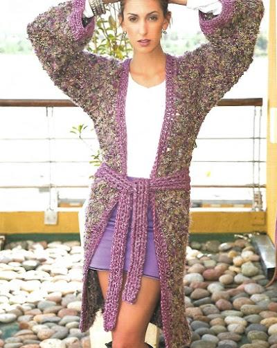 Abrigo combinado con lana fantasia y pelo jaspeado