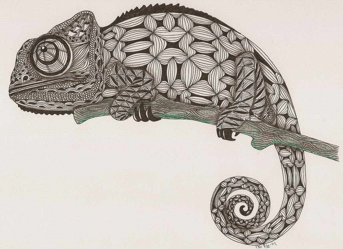 07-Chameleon-Adri-van-Garderen-Animals-Given-the-Zentangle-Treatment-www-designstack-co