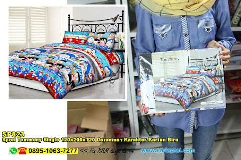 Sprei Tommony Single 120x200xT20 Doraemon Karakter Kartun Biru