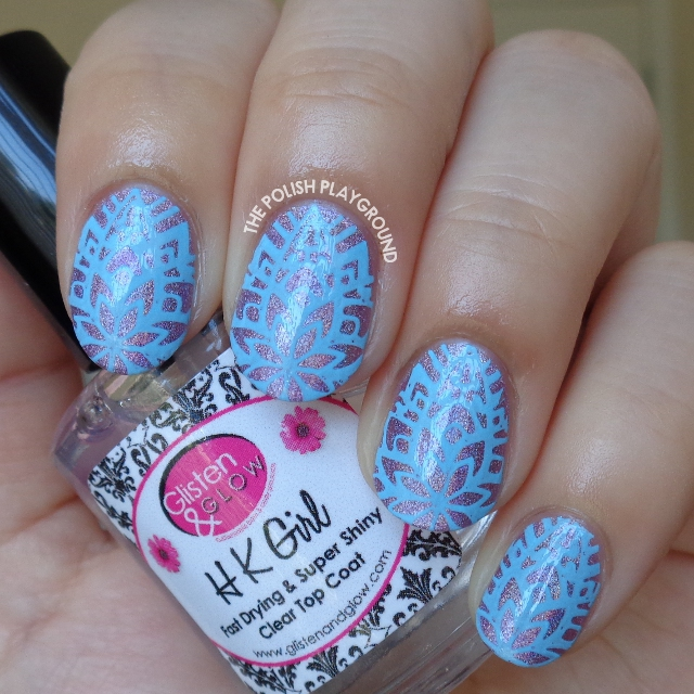 Purple Holo with Blue Abstract Floral Stamping