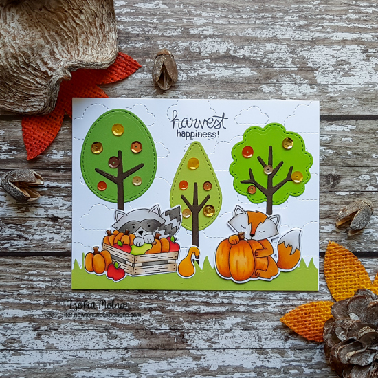 Fall woodland fox and raccoon card by Zsofia Molnar | Harvest Tails Stamp Set by Newton's Nook Designs #netwonsnook #handmade
