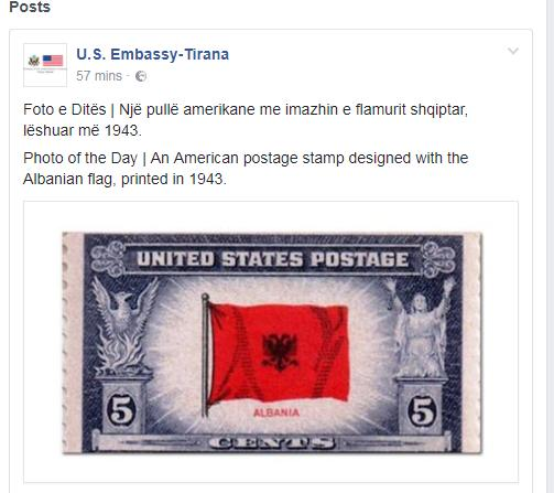 US postage stamp of 1943 with Albanian flag on it