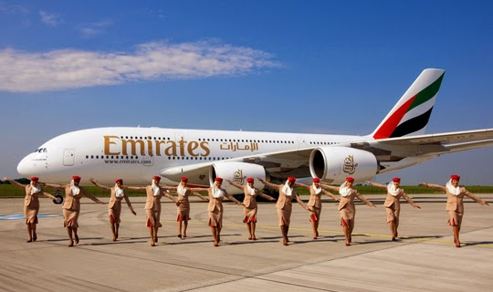 emirates airbus a380 standing view
