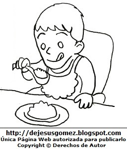 Imagen de niño con plato de comida para colorear pintar imprimir. Dibujo de niño de Jesus Gómez