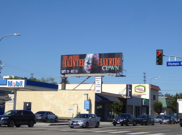 LA Haunted Hayride Clown billboard