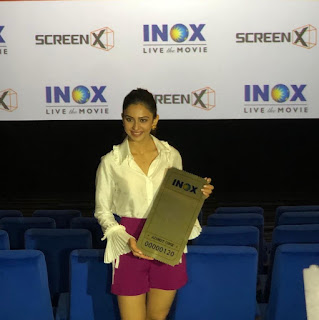 Rakul Preet in Pink Dress with Cute Smile for INOX ScreenX Launch