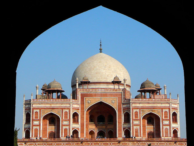 Front view of the Humayun's Tomb - UNESCO World  Heritage site in India