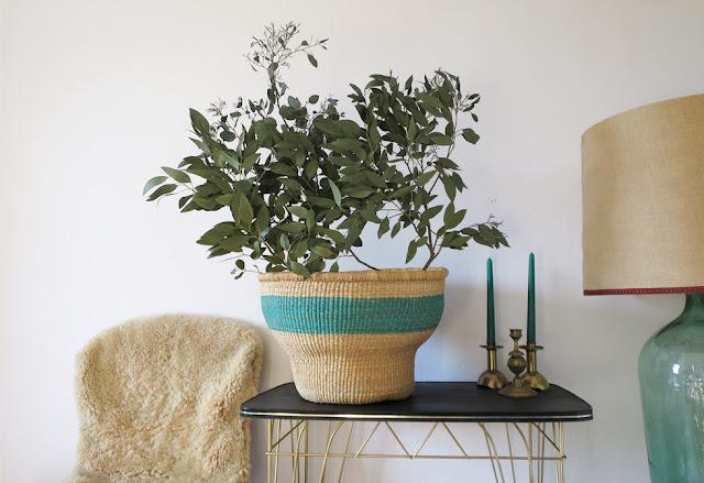 panier cache pot africain mint