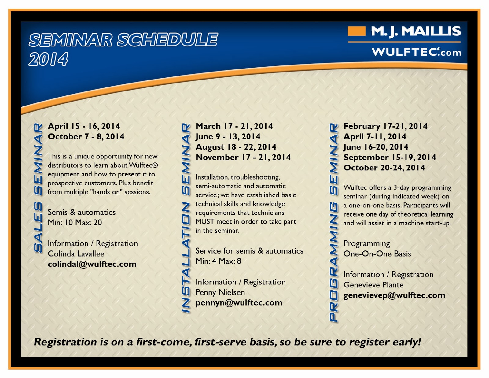Wulftec 2014 Seminar schedule for authorized distributors