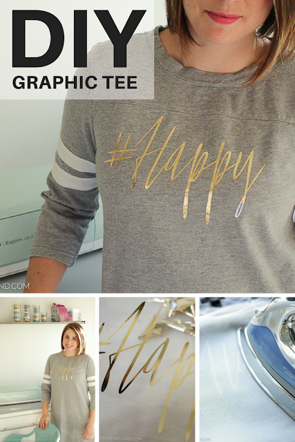 Step by Step instructions for how to use iron-on vinyl and make a graphic tee at home!